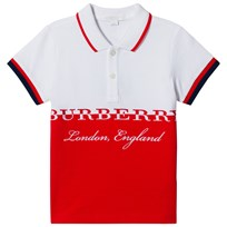 Burberry Red and White Branded Daryll Polo BRIGHT ORANGE RED