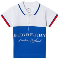 Burberry White and Blue Classic Branded Dary Polo Cobalt Blue