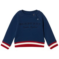 Burberry ontrast Stripe Embroidered Sweatshirt Canvas Blue Canvas Blue