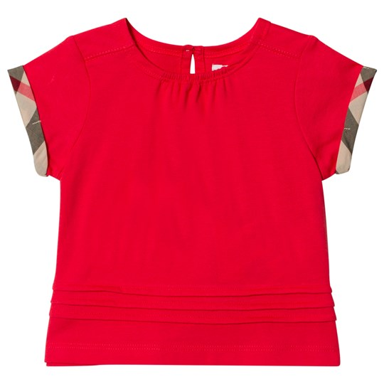 Burberry Pleat and Check Detail T-Shirt Red BRIGHT ORANGE RED