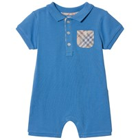 Burberry Chalk Blue Pique Romper with Classic Check Pocket Chalk Blue