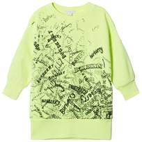 Burberry Yellow Soure Scribble Print Branded Dress Neon Yellow