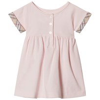 Burberry Pink Cotton Jen Dress with Check Turn Ups Powder Pink