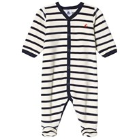 Petit Bateau Black and White Striped Footed Baby Body Blue/White