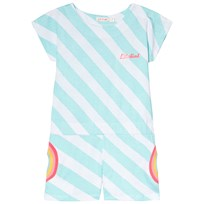 Billieblush Sea Green and White Stripe Rainbow Pocket Playsuit U31