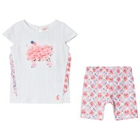 Tom Joule Poodle Frill Applique Tee and Mosaic Print Leggings Set Pink and White CREAM SUMMER MOSAIC