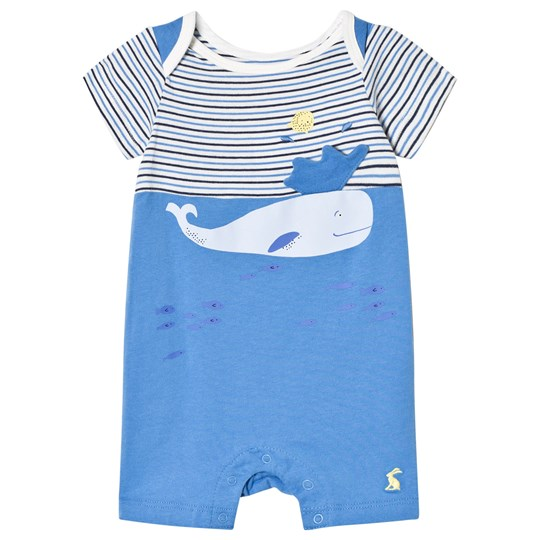 Tom Joule Stripe and Whale Applique Romper Blue WHITBY BLUE
