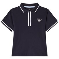 Armani Junior Navy Zip Polo with Eagle Logo 15K5