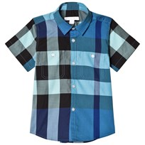 Burberry Short-Sleeve Check Shirt Light Azure LIGHT AZURE
