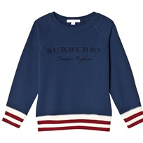 Burberry Stripe Hem Embroidered Jersey Sweatshirt Canvas Blue Canvas Blue