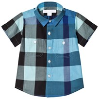Burberry Short-Sleeve Check Mini Shirt Light Azure LIGHT AZURE