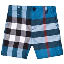 Burberry Blue Check Sean Shorts Azure Blue