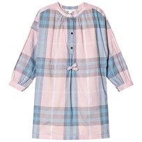 Burberry Piping Detail Check Shirt Dress Camel Ice Pink
