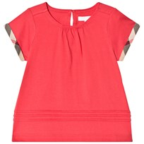 Burberry Pleat and Check Detail T-Shirt Bright Orange Red BRIGHT ORANGE RED