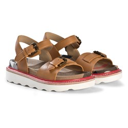 Burberry Leather and House Check Sandals Tan