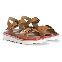 Burberry Leather and House Check Sandals Tan UMBER BROWN