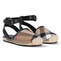 Burberry House Check and Leather Espadrille Sandals Black Black