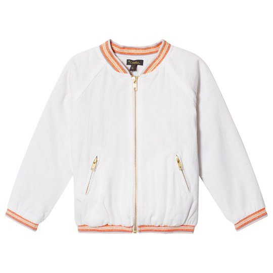 Velveteen White Fruit Embroidered and Embellished Nina Bomber Jacket WCT