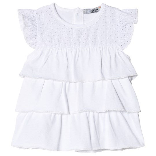 Dr Kid Embroidery Anglais Layered Infants Top White 000
