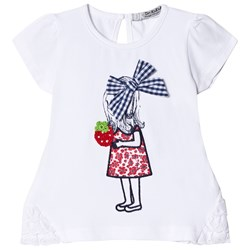 Dr Kid Girl Print Infants Tee Strawberry and Bow Applique White