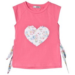 Dr Kid Sequin Floral Heart Tee with Side Bow Detail Pink