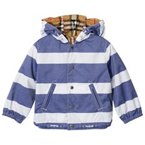 Burberry Reversible Stripe and Vintage Check Baby Jacket Navy and White Navy/White