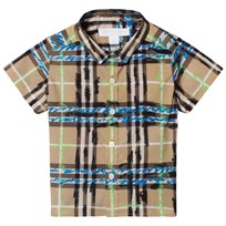 Burberry Short Sleeve Scribble Check Baby Shirt Bright Blue Bright Blue