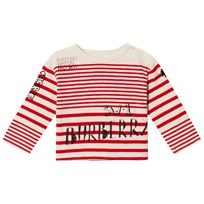 Burberry Red and White Branded Stripe Mini Tee BRIGHT RED/NATURAL W