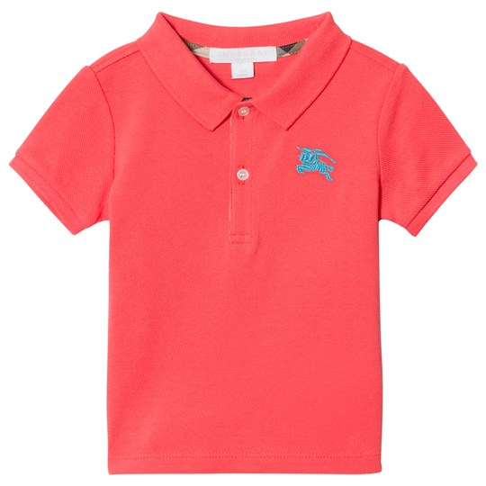 Burberry Coral Baby Polo with Knight Branding BRIGHT CORAL PINK