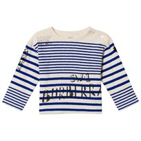 Burberry Blue and White Branded Stripe Mini Tee BRIGHT LAPIS/N WHITE