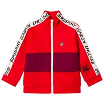 Burberry Bright Red Bold Stripe Detail Tracksuit Top Bright Red