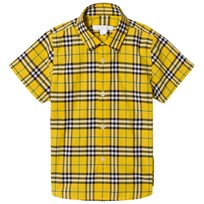 Burberry Short Sleeve Check Shirt Bright Yellow Keltainen