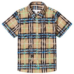 Burberry hort Sleeve Scribble Check Shirt Bright Blue