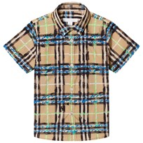 Burberry hort Sleeve Scribble Check Shirt Bright Blue Bright Blue
