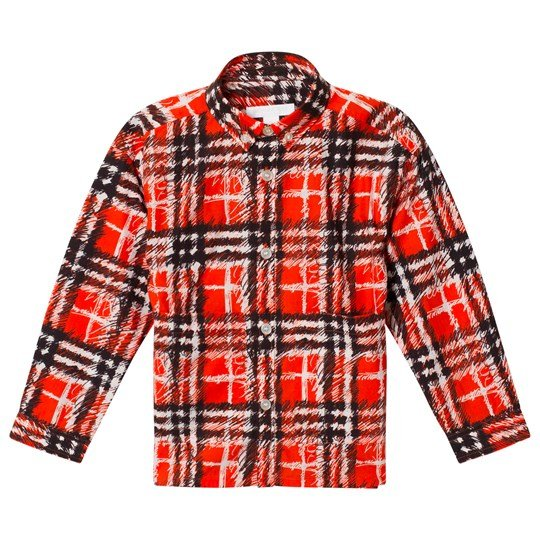 Burberry Scribble Check Button-Down Collar Shirt Bright Red Bright Red