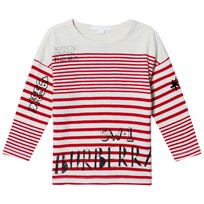 Burberry Red Branded Stripe Tee BRIGHT RED/NATURAL W
