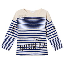 Burberry Blue Branded Stripe Tee BRIGHT LAPIS/N WHITE