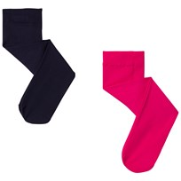 United Colors of Benetton 2 Pack Nylon Tights Navy & Pink BLACK&WHITE