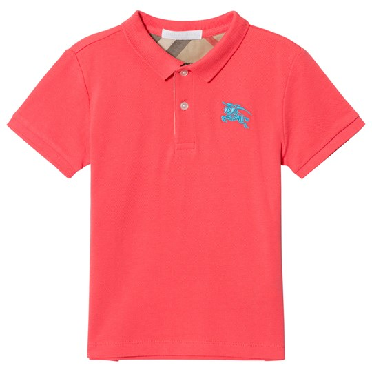 Burberry Coral Polo with Knight Branding BRIGHT CORAL PINK