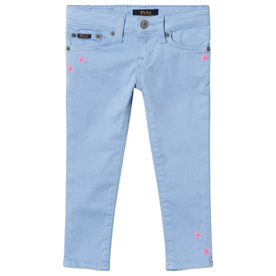 Ralph Lauren Blue 5 Pocket Jeans with Flamingo Embroidery 001