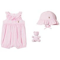 Ralph Lauren Pink Ruffle Bubble, Bear and Hat Gift Set 001