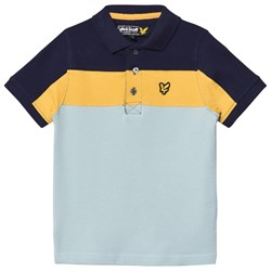 Lyle & Scott Blue, Navy and Yellow Colour Block Polo Top
