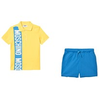 Moschino Kid-Teen Branded Randig Piké och Jersey Shorts Set Gul 84115