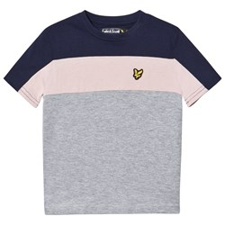Lyle & Scott Navy, Pink and Gray Colorblock Tee