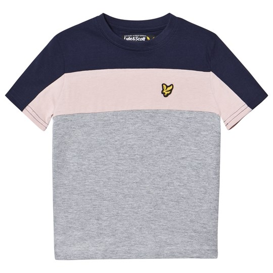 Lyle & Scott Navy, Pink and Gray Colorblock Tee VINTAGE GREY HEATHER