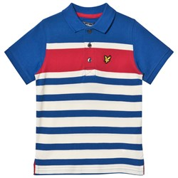 Lyle & Scott Blue, Red and White Block Stripe Polo Top