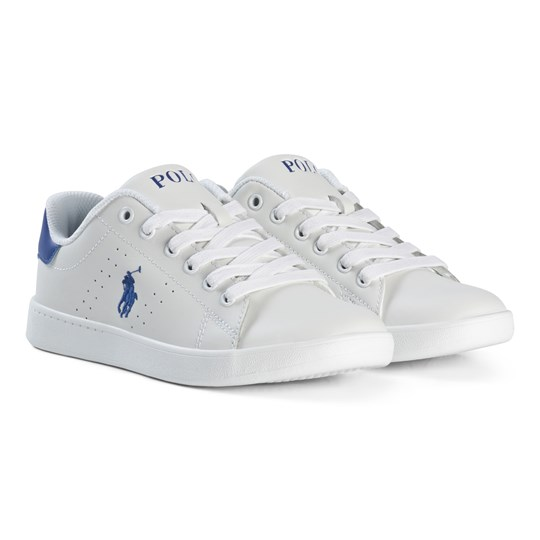 Ralph Lauren Leather Laced Sneakers Vit WHITE/ROYAL
