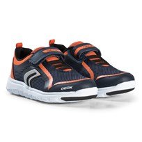 Geox Navy and Orange Xunday Velcro Sneakers C0820