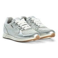 Geox Silver Jensea Glitter Leather Laced Sneakers C1355