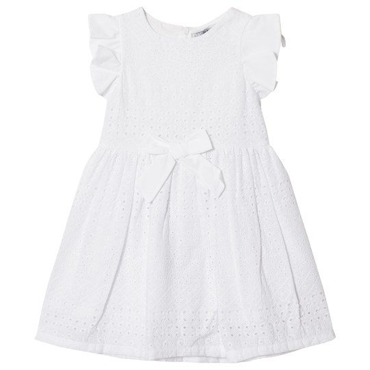 Dr Kid White Embroidery Anglais Bow Front Dress 000